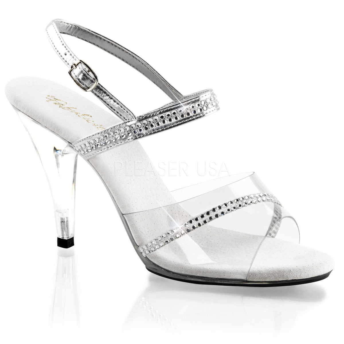 Fabulicious,FABULICIOUS CARESS-439 Clear-Silver Metallic Pu-Clear Slides - Shoecup.com