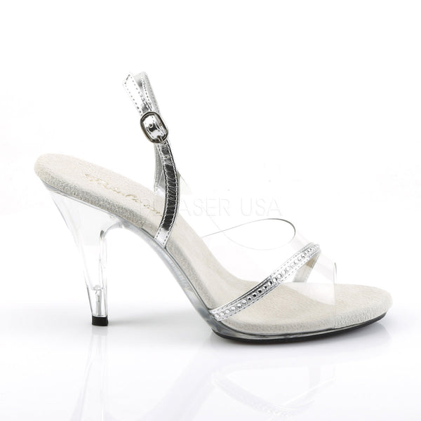 FABULICIOUS CARESS-456 Clear-Silver Metallic Pu-Clear Slingback Sandals