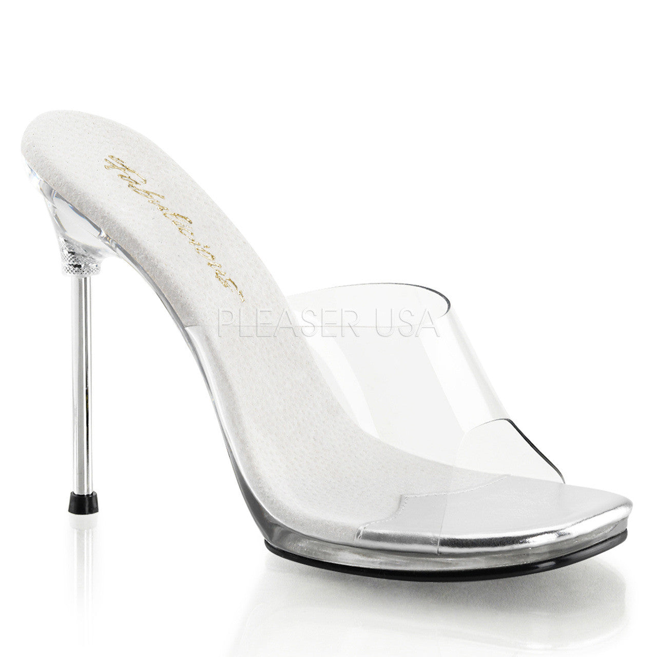 Fabulicious,FABULICIOUS CHIC-01 Clear-Clear Stiletto Slides - Shoecup.com