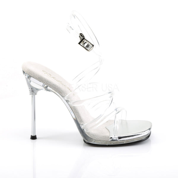 FABULICIOUS CHIC-07 Clear-Clear Ankle Strap Sandals