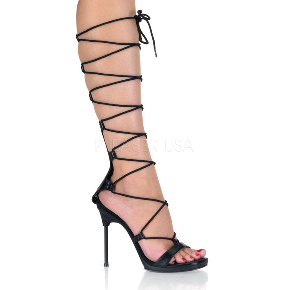 Fabulicious,FABULICIOUS CHIC-60 Black Pu-Black Matte Lace Up Sandals - Shoecup.com