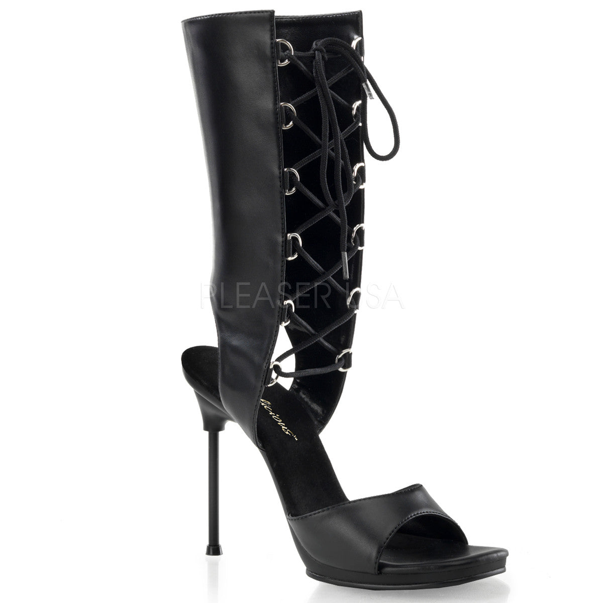 Fabulicious,FABULICIOUS CHIC-65 Black Pu-Black Matte Mid Calf Boots - Shoecup.com