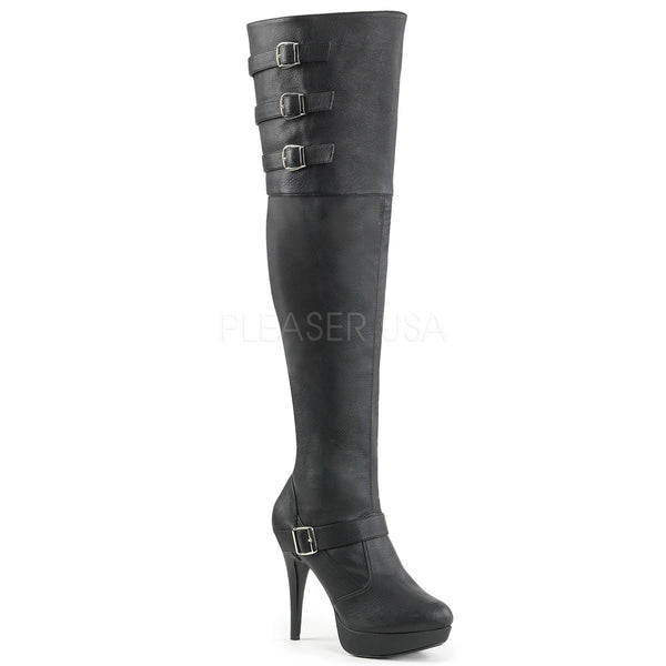 Pleaser Pink Label CHLOE-308 Black Faux Leather Thigh High Boots - Shoecup.com