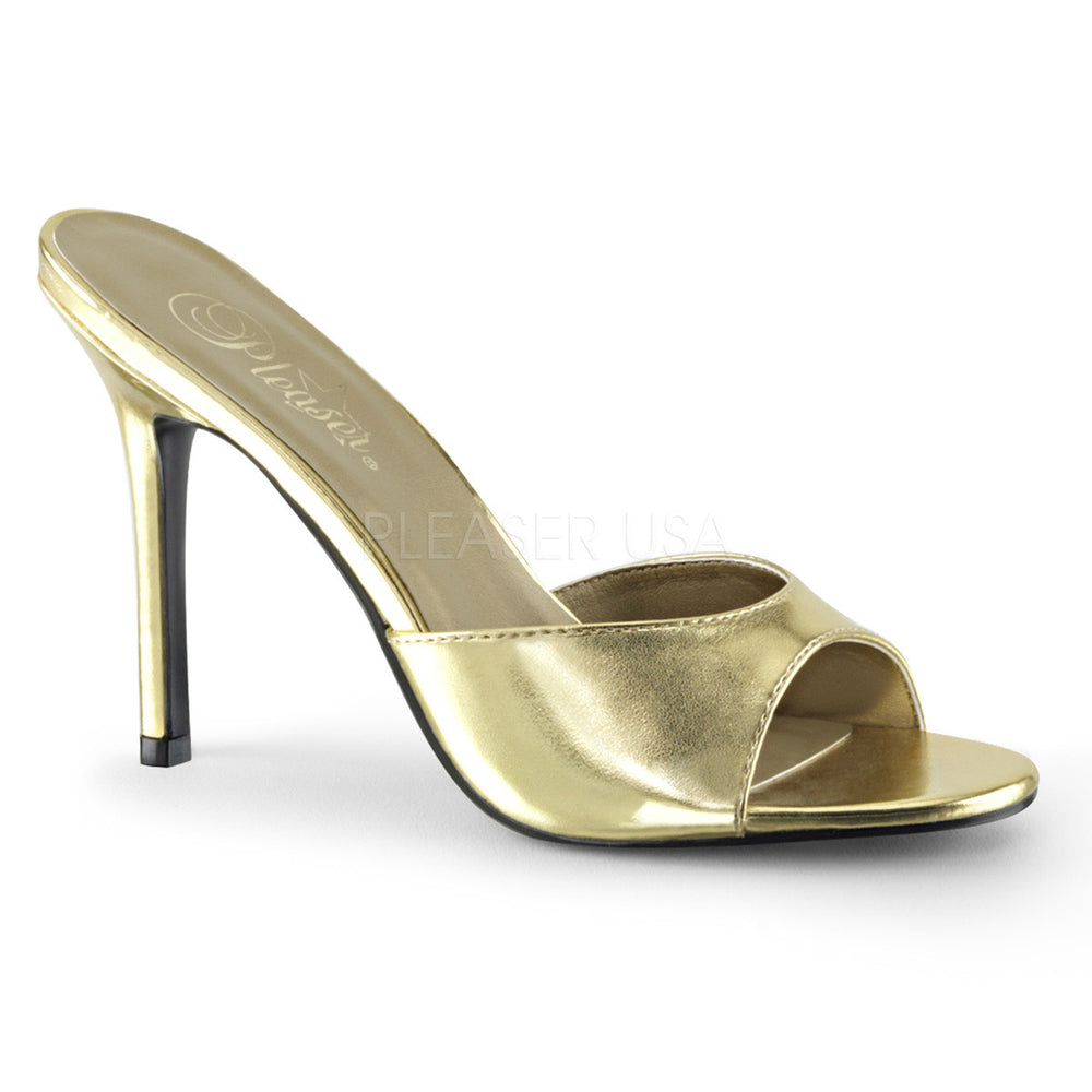 Pleaser CLASSIQUE-01 Gold Metallic Pu Slides