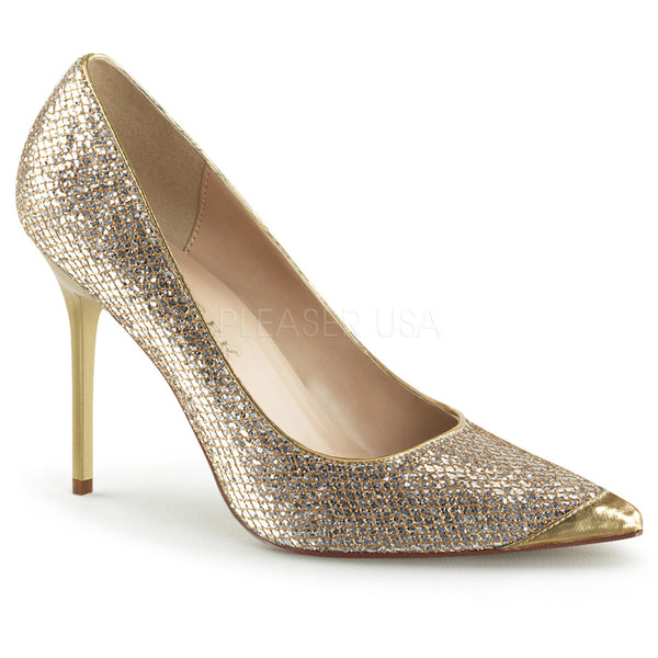 Pleaser CLASSIQUE-20 Gold Glittery Lame Fabric Pointed-Toe Pumps - Shoecup.com - 1