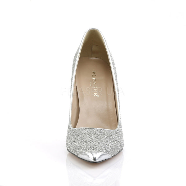 Pleaser CLASSIQUE-20 Silver Glittery Lame Fabric Pointed-Toe Pumps - Shoecup.com - 2
