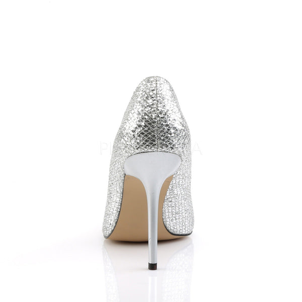 Pleaser CLASSIQUE-20 Silver Glittery Lame Fabric Pointed-Toe Pumps - Shoecup.com - 4
