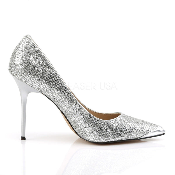 Pleaser CLASSIQUE-20 Silver Glittery Lame Fabric Pointed-Toe Pumps - Shoecup.com - 5