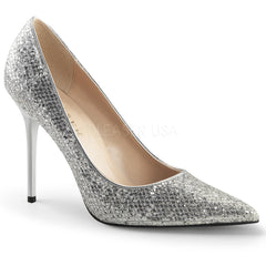 Pleaser CLASSIQUE-20 Silver Glittery Lame Fabric Pointed-Toe Pumps - Shoecup.com - 1