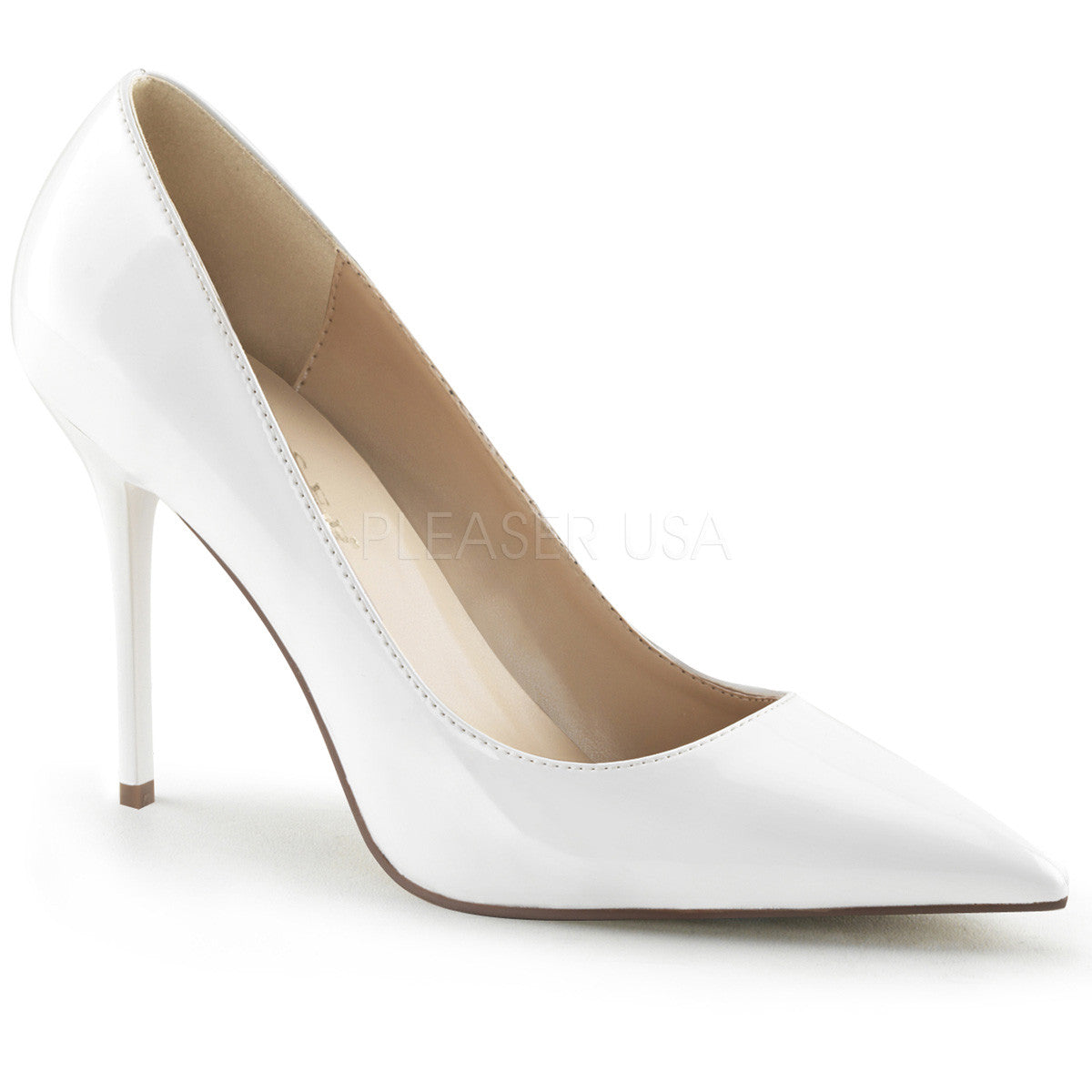 PLEASER CLASSIQUE-20 White Pat Pumps - Shoecup.com - 1