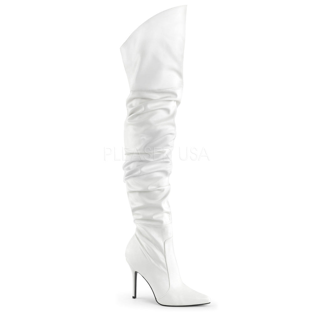 Pleaser CLASSIQUE-3011 White Faux Leather Thigh High Boots