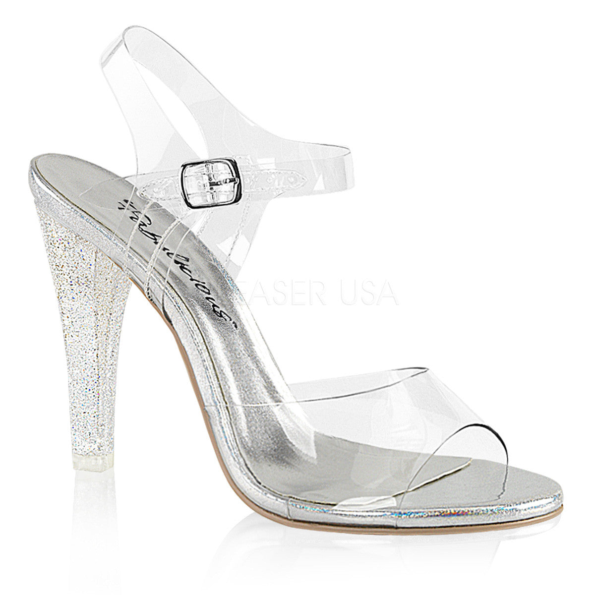 Fabulicious CLEARLY-408MG Clear Ankle Strap Sandals With Glitter Bottom - Shoecup.com - 1