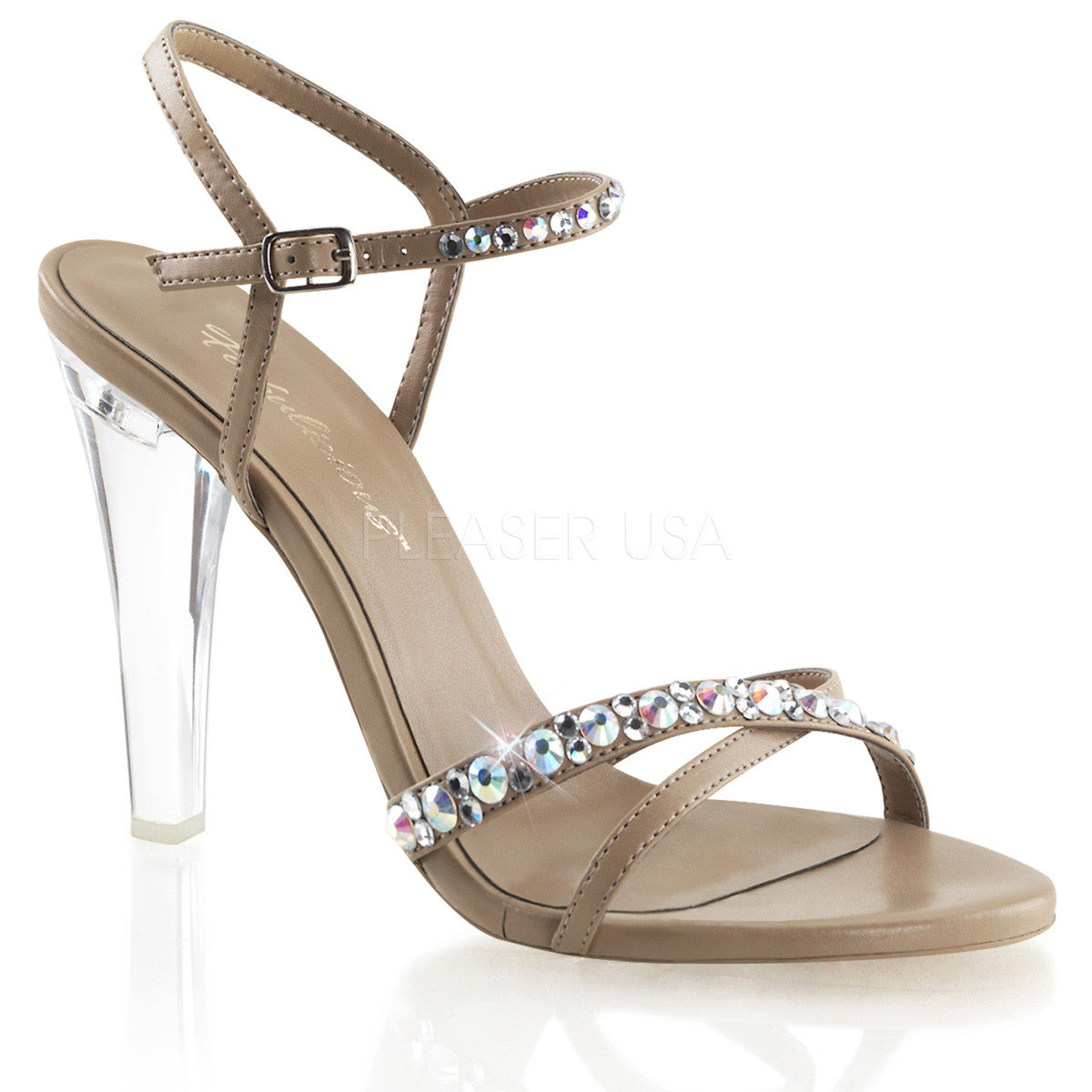 Fabulicious,FABULICIOUS CLEARLY-415 Taupe Pu Ankle Strap Sandals - Shoecup.com