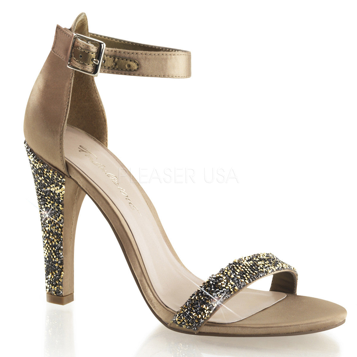 Fabulicious,FABULICIOUS CLEARLY-436 Bronze Satin Ankle Strap Sandals - Shoecup.com