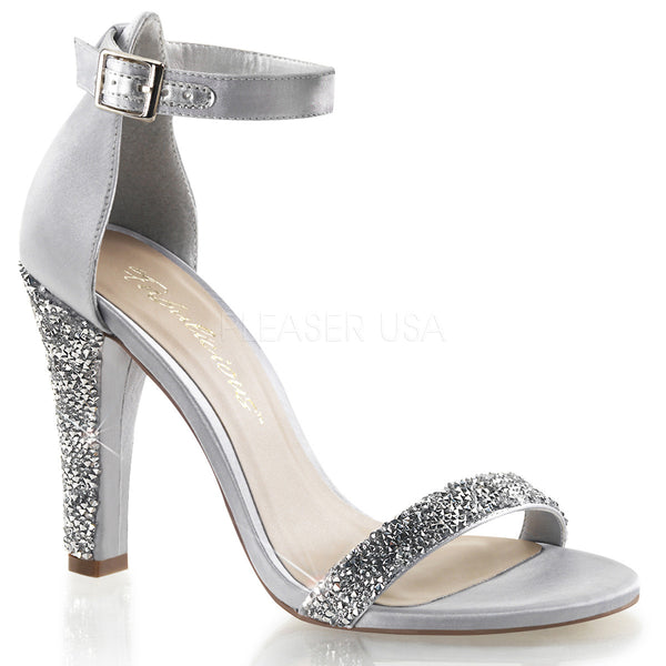 Fabulicious,FABULICIOUS CLEARLY-436 Silver Satin Ankle Strap Sandals - Shoecup.com