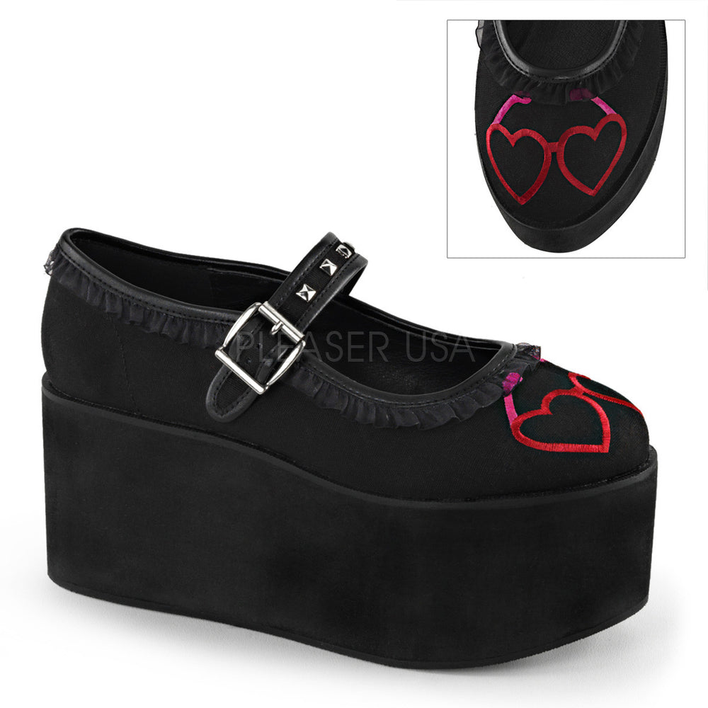 Demonia CLICK-02-1 Black Canvas Mary Jane