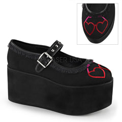 Demonia,Demonia CLICK-02-1 Black Canvas Mary Jane - Shoecup.com