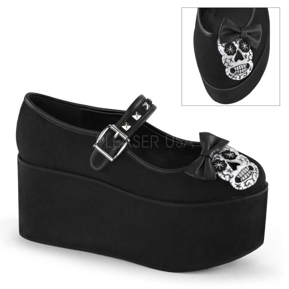 Demonia CLICK-02-3 Black Canvas Mary Jane