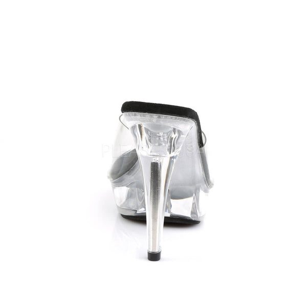 FABULICIOUS COCKTAIL-501 Clear-Black-Clear Platform Slides