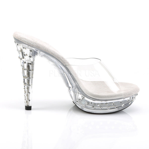 FABULICIOUS COCKTAIL-501SDT Clear-Clear Platform Slides