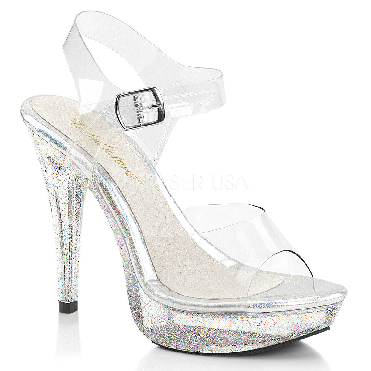 Fabulicious COCKTAIL-508MG Clear Ankle Strap Sandals With Glitter Bottom - Shoecup.com