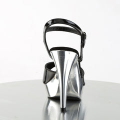 FABULICIOUS COCKTAIL-509 Black-Silver Chrome Ankle Strap Sandals