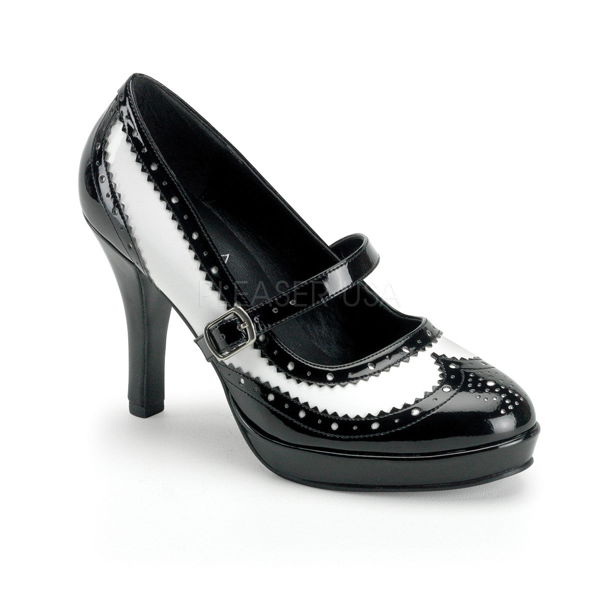 FUNTASMA CONTESSA-06 Black-White Pat Mary Jane - Shoecup.com