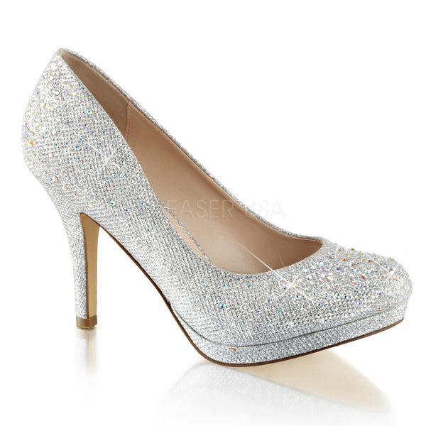 Fabulicious COVET-02 Silver Glitter Mesh Fabric Pumps - Shoecup.com