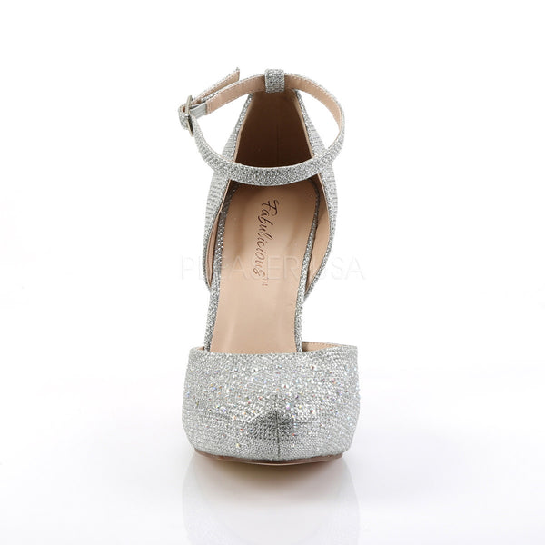 Fabulicious COVET-03 Silver Glitter Mesh Fabric Ankle Strap Pumps with Rhinestones