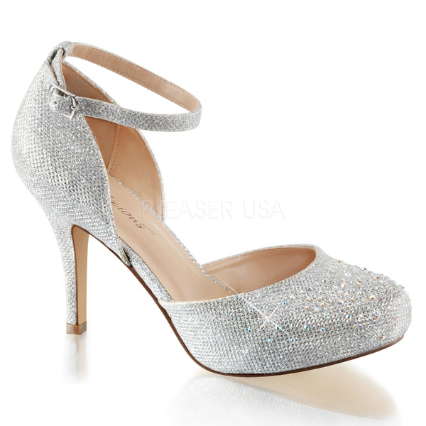 Fabulicious COVET-03 Silver Glitter Mesh Fabric Ankle Strap Pumps with Rhinestones - Shoecup.com