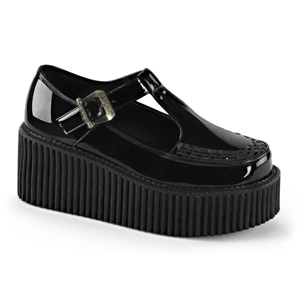 Demonia,Demonia CREEPER-214 Black Patent T-Strap Creepers - Shoecup.com