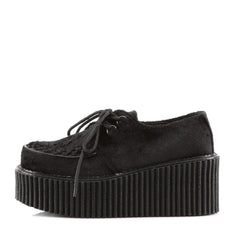 Demonia,DEMONIA CREEPER-202 Black Fur Creepers (One Size Small) - Shoecup.com