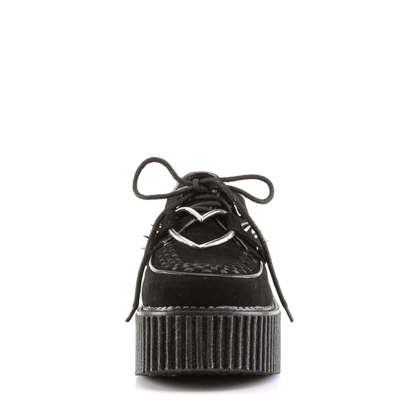 Demonia,Demonia CREEPER-206 Black Vegan Suede Leather Creepers - Shoecup.com