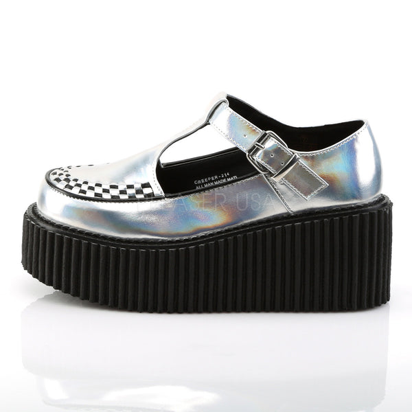 Demonia CREEPER-214 Silver Hologram Creepers - Shoecup.com - 3