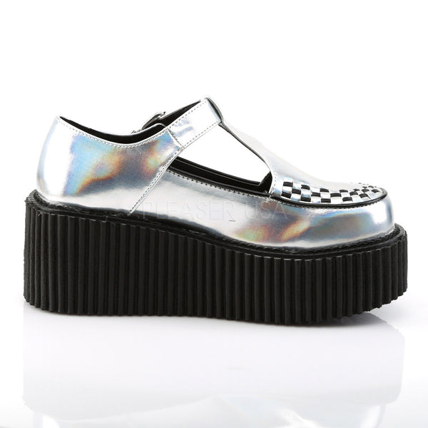 Demonia CREEPER-214 Silver Hologram Creepers - Shoecup.com - 5