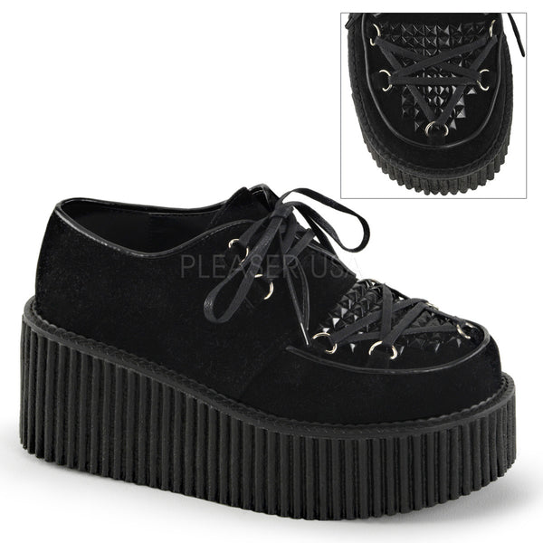Demonia,Demonia CREEPER-216 Black Vegan Suede Creepers - Shoecup.com