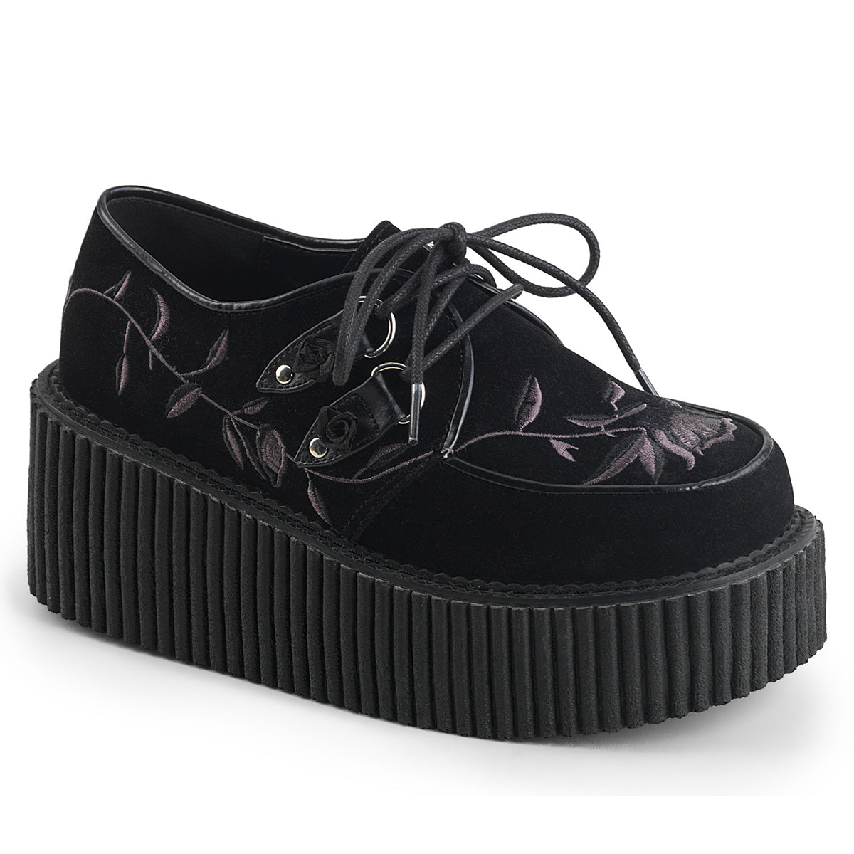 "Demonia CREEPER-219 Black Velvet 3"" (75mm) Platform Lace Up Creeper Featuring Embroidery Flower"