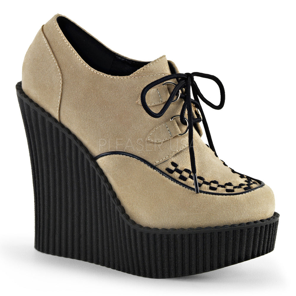 Demonia CREEPER-302 Cream Vegan Suede Creepers