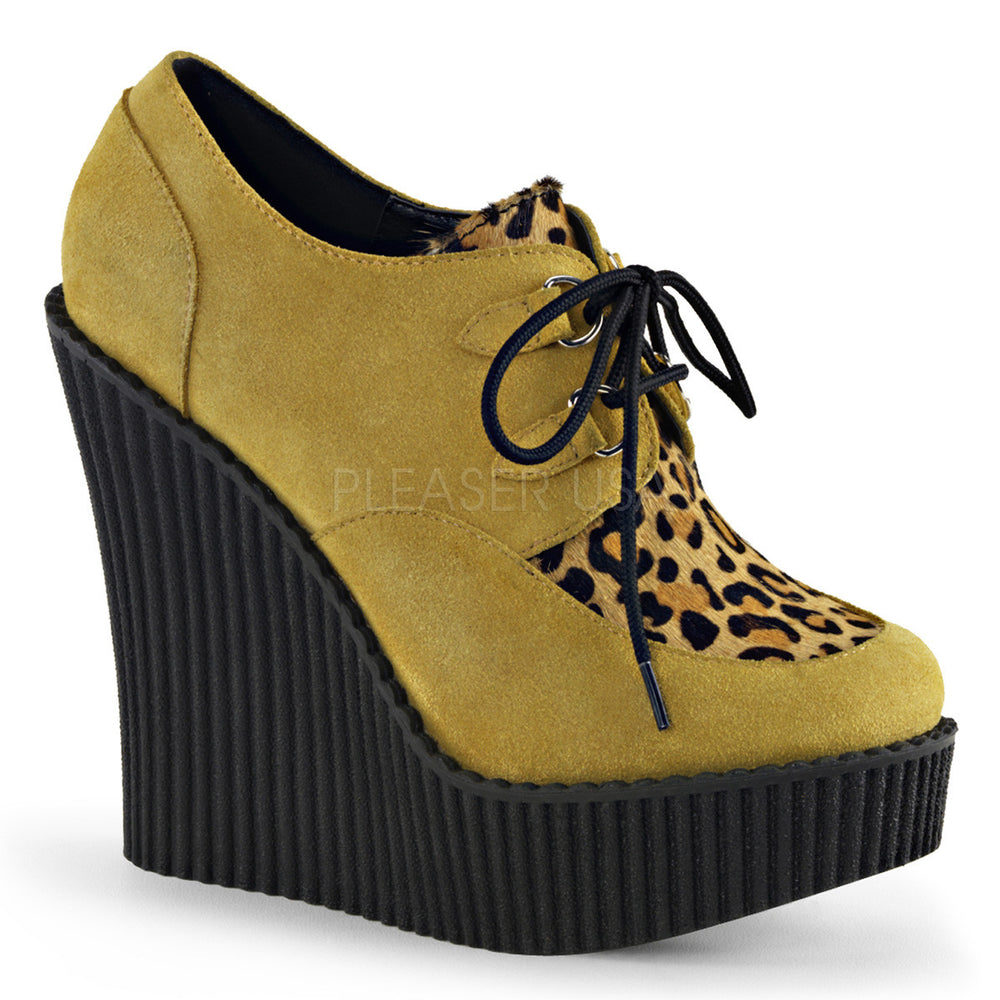Demonia CREEPER-304 Mustard Vegan Suede-Leopard Printed Ponly Hair Creepers