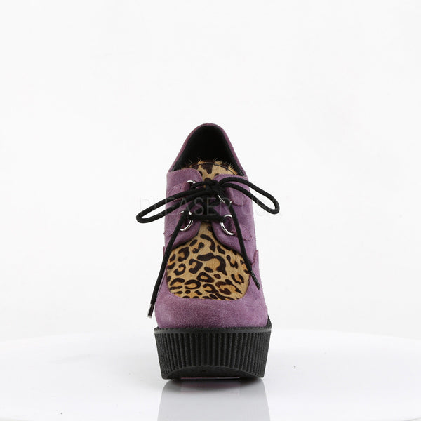 Demonia,Demonia CREEPER-304 Purple Vegan Suede-Leopard Printed Pony Hair Creepers - Shoecup.com