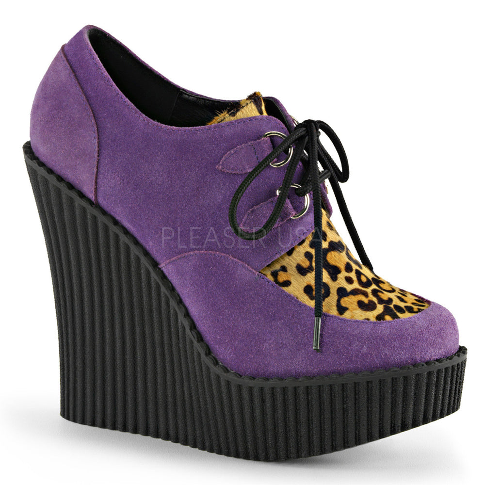 Demonia CREEPER-304 Purple Vegan Suede-Leopard Printed Pony Hair Creepers