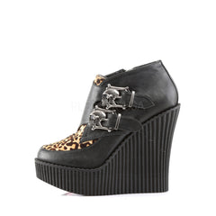Demonia,Demonia CREEPER-306 Black V. Leather-Tan Leopard Printed Pony Hair Creepers - Shoecup.com