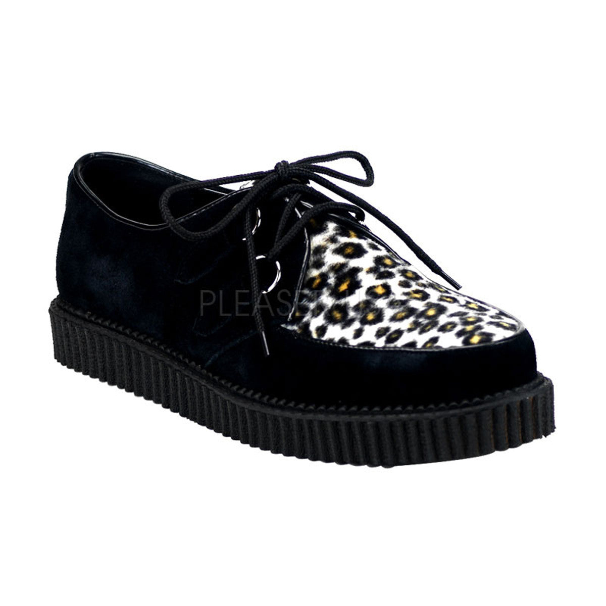Demonia,DEMONIA CREEPER-600 Men's Black Suede-Cheetah Fur Creepers - Shoecup.com