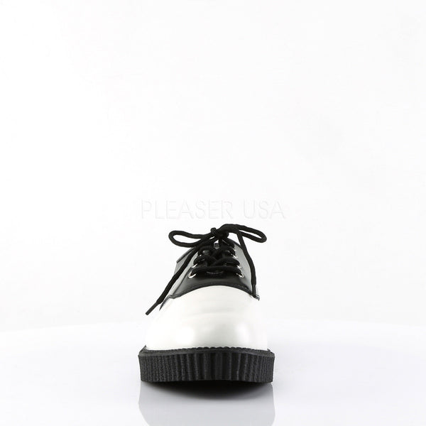 Demonia,Demonia CREEPER-606 Men's White-Black  Leather Creepers - Shoecup.com