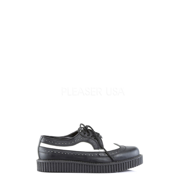 Demonia,DEMONIA CREEPER-608 Men's Black-White Leather Creepers - Shoecup.com