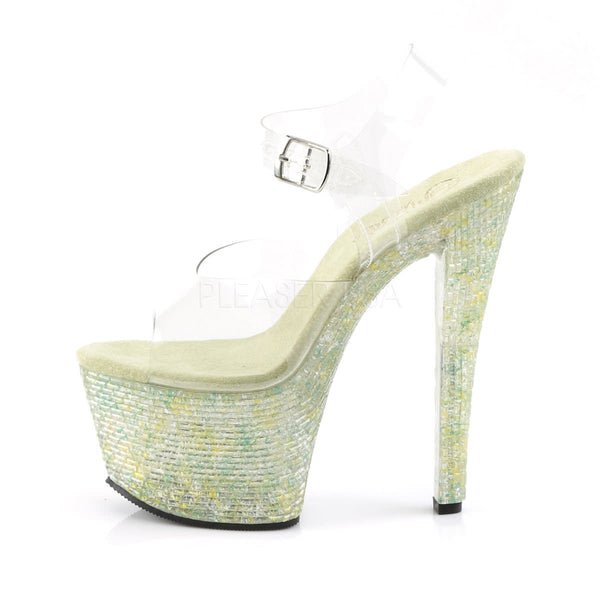 Pleaser CRYSTALIZE-308TL Clear Ankle Strap Sandals With Lime Crystal Platform - Shoecup.com - 3