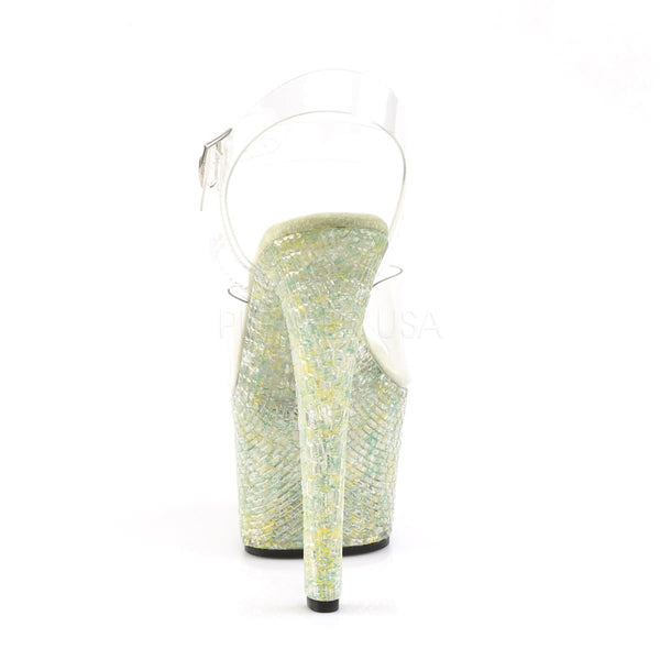 Pleaser CRYSTALIZE-308TL Clear Ankle Strap Sandals With Lime Crystal Platform