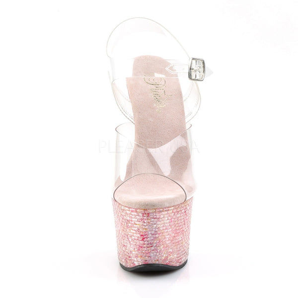 Pleaser CRYSTALIZE-308TL Clear Ankle Strap Sandals With Pink Crystal Platform - Shoecup.com - 2