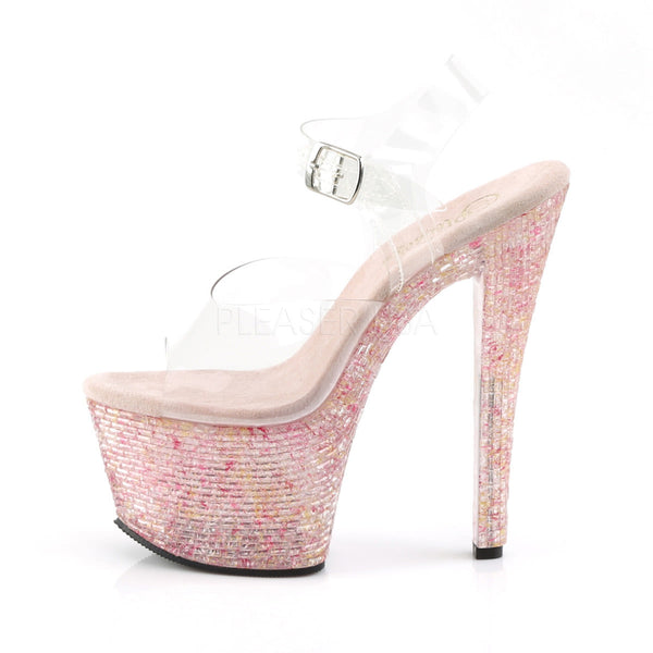 Pleaser CRYSTALIZE-308TL Clear Ankle Strap Sandals With Pink Crystal Platform - Shoecup.com - 3