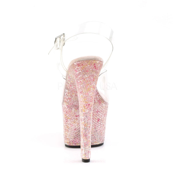 Pleaser CRYSTALIZE-308TL Clear Ankle Strap Sandals With Pink Crystal Platform - Shoecup.com - 4